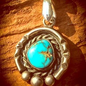 SOLD Navajo Sterling turquoise pendant necklace